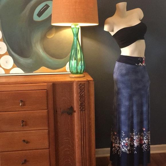 MOA USA Dresses & Skirts - Navy Floral & Stripe Maxi Skirt